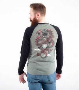 """Лонгслив MEDOOZA """"Dragon"""" (хаки/черный)"""